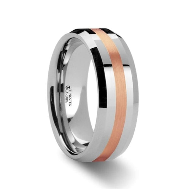 Tungsten Wedding Ring with Rose Gold Inlaid Center & Polished Beveled Edges 6 mm & 8 mm