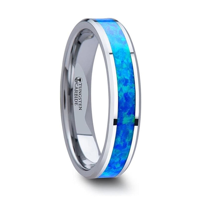 Tungsten Women's Wedding Band with Blue Green Opal Inlay & Beveled Edges - 4mm