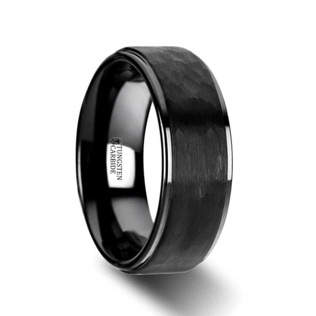 Uni Black Ceramic Wedding Band With Raised Hammer Finish Step Edges - 6Mm & 8Mm - Ceramic Rings