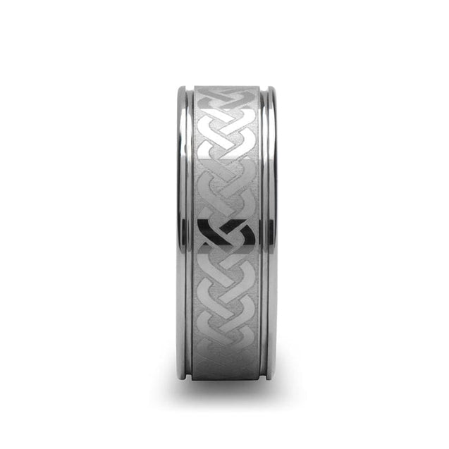 Unique Celtic Knot Center Laser Engraved Tungsten Wedding Ring Grooved 6mm - 10mm