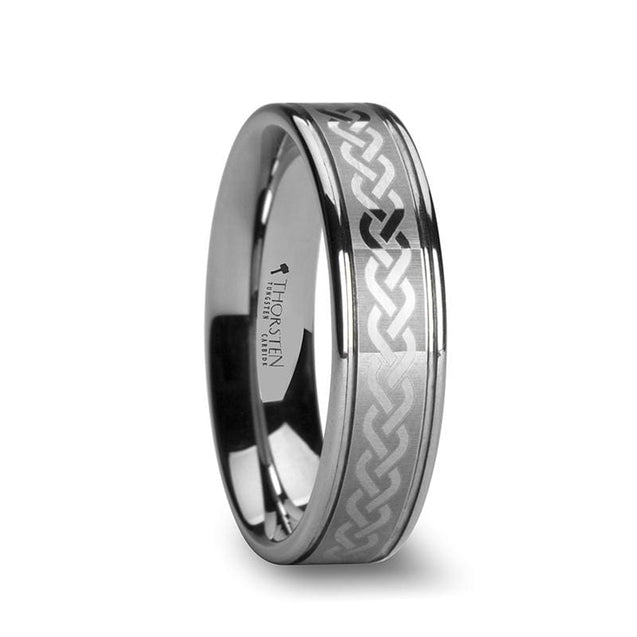 Unique Celtic Knot Center Laser Engraved Tungsten Wedding Ring Grooved 6Mm - 10Mm - Tungsten