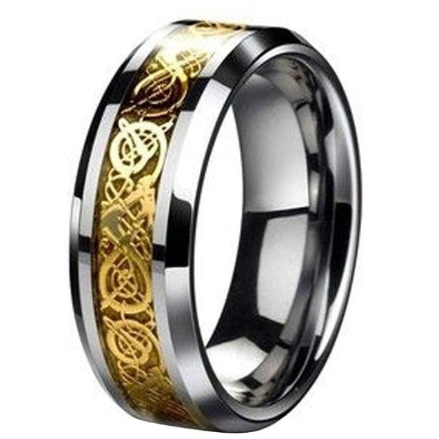 Vanessa Tungsten Wedding Band With Celtic Yellow Dragon On a Black Inlay - 8mm
