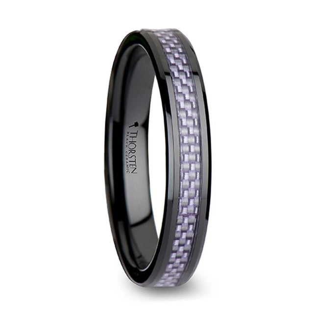 VINCENT Black Ceramic Wedding Ring with Purple Carbon Fiber Inlay - 4mm & 6mm