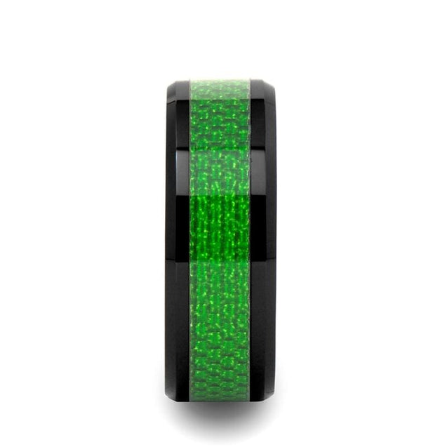 WESTON Black Ceramic Wedding Band with Emerald Green Carbon Fiber Inlay - 8mm