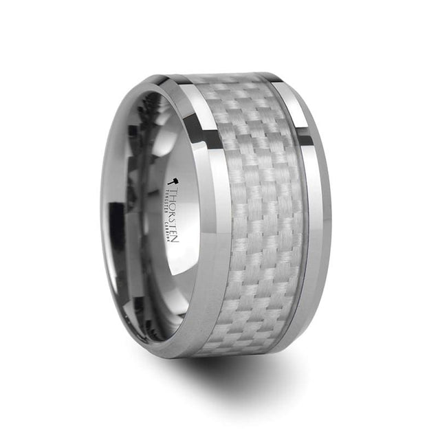 White Carbon Fiber Inlaid Tungsten Wedding Band Polished Beveled Edges 4mm - 12mm