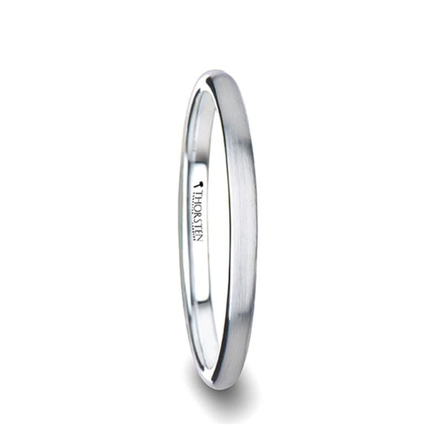 White Domed Tungsten Ring For Women with Brushed Finish - 2mm