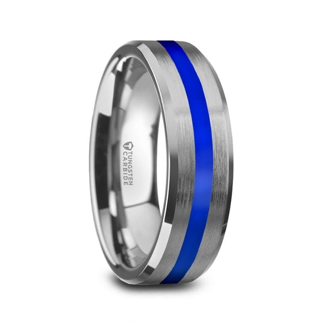White Tungsten Men's Beveled Edges W/ Blue Stripe Brushed Finish Wedding Band - 8mm