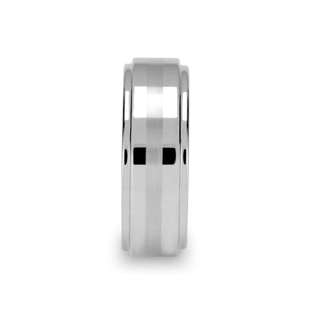 White Tungsten Ring with Brushed Stripe & Polished Stepped Edges - 6mm & 8mm