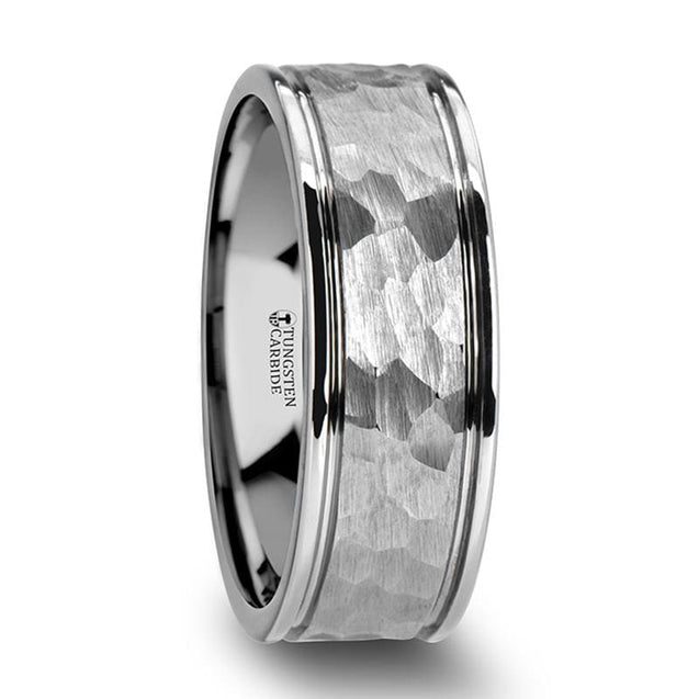 White Tungsten Ring with Hammered Finish Center & Dual Offset Grooves 6mm & 8mm
