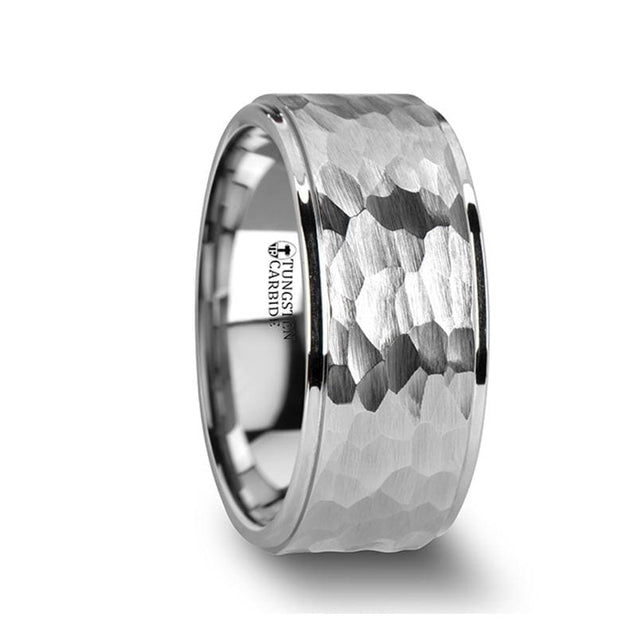 White Tungsten Ring with Raised Hammered Finish & Polished Step Edges  4mm - 10mm