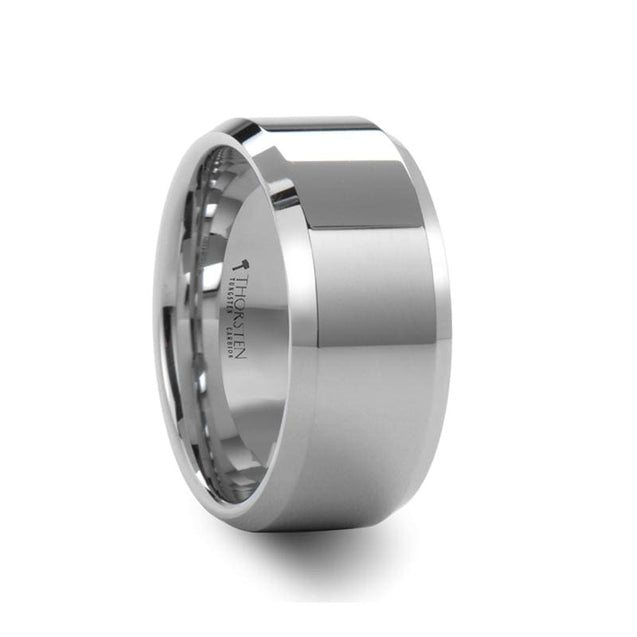White Tungsten Wedding Band Extra Wide with Beveled Edges 10 mm