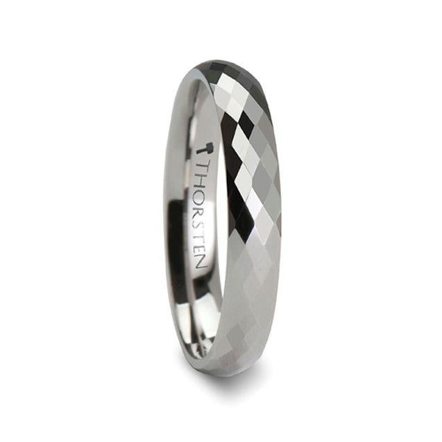 White Tungsten Wedding Ring 288 Diamond Faceted For Men & Women - 4mm - 8mm