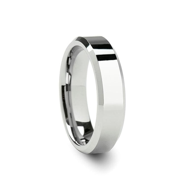 White Tungsten Women's Ring with Beveled Edges & Polished Finish 4mm - 6mm