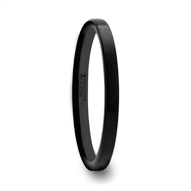 Women's Black Flat Shaped Tungsten Carbide Wedding Band Brushed Finish - 2 mm