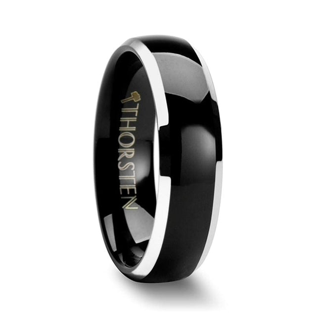 Women's Black Tungsten Ring Polished Domed Beveled Edges - 4mm - 6mm