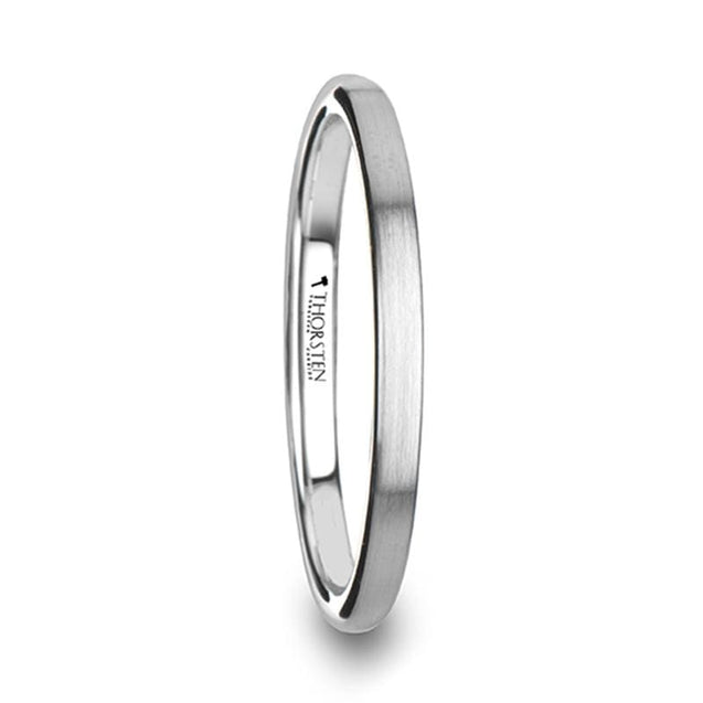 Women's Classic Domed Tungsten Carbide Ring With Brushed Finish - 2 mm