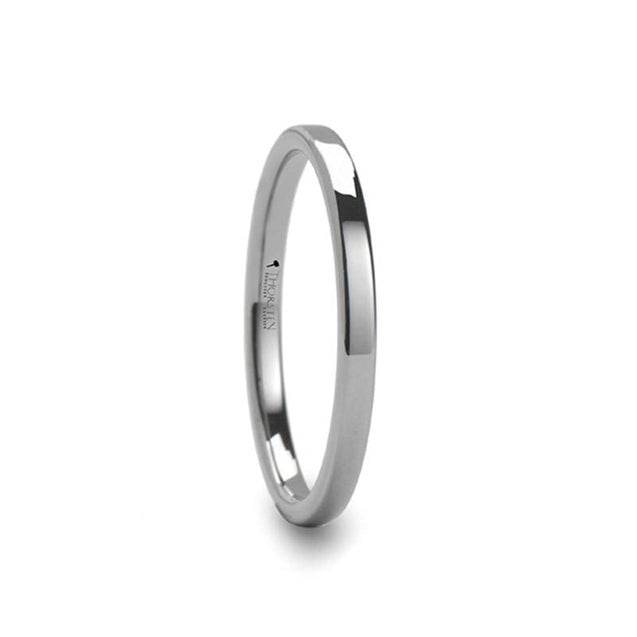 Women's Classic Flat Style Tungsten Carbide Ring Polished Finish - 2mm