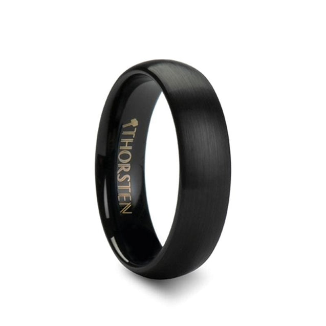 Women's Domed Black Tungsten Carbide Ring with Brushed Finish  4mm - 6mm