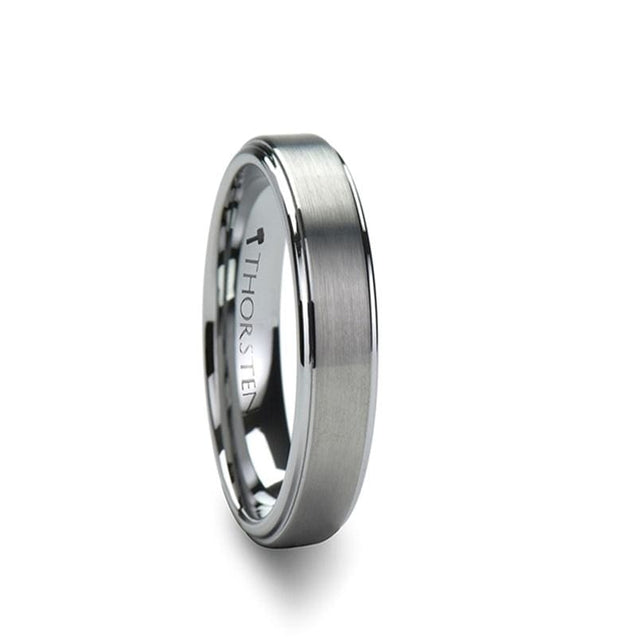 Women's Raised Center Brushed Finish Tungsten Carbide Wedding Ring - 4mm