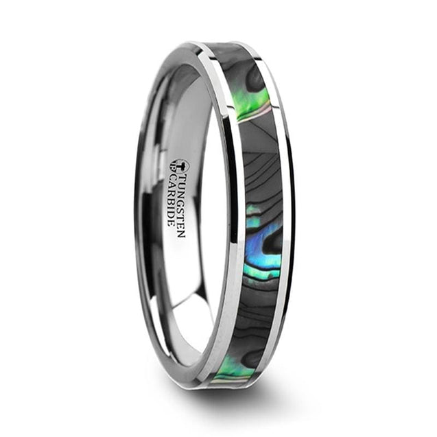 Women's Tungsten Wedding Band with Mother of Pearl Inlay & Beveled Edges - 4mm