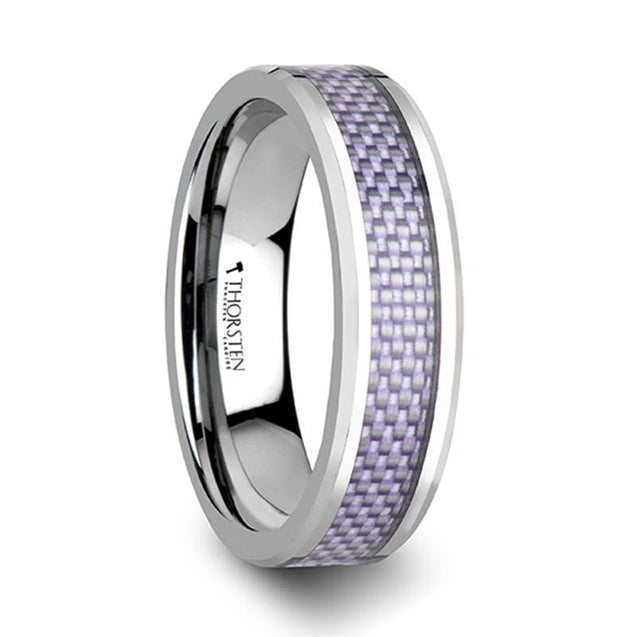 Women's Tungsten Wedding Band with Purple Carbon Fiber Inlay Beveled Edges 4mm & 6mm