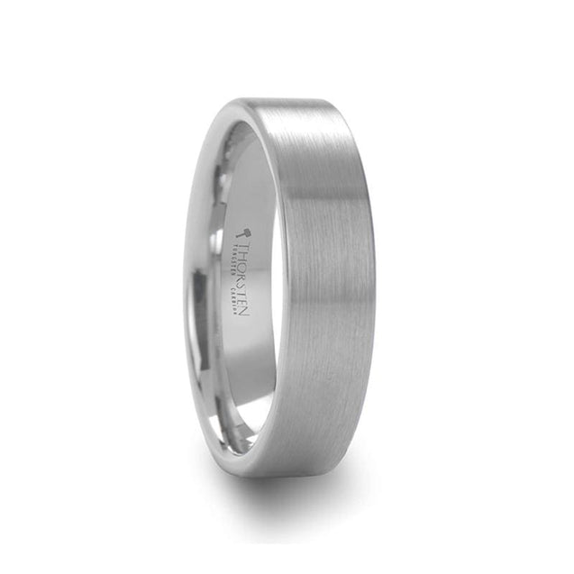 Women's White Tungsten Wedding Band Pipe Cut Brushed Finish - 4mm & 6mm