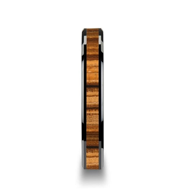 YANKEE Black Beveled Edges Ceramic Ring with Real Zebra Wood Inlay- 4mm - 10mm
