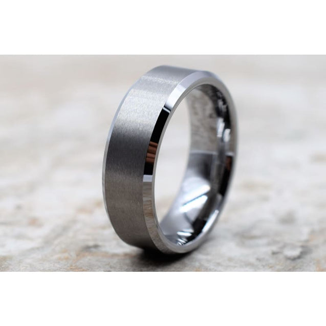 Yanni Tungsten Wedding Band With Brushed Center and Beveled Edges - 6mm