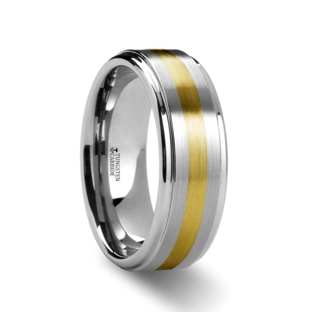 Yellow Gold Inlaid Satin Finish Tungsten Ring with Stepped Edges - 8 mm