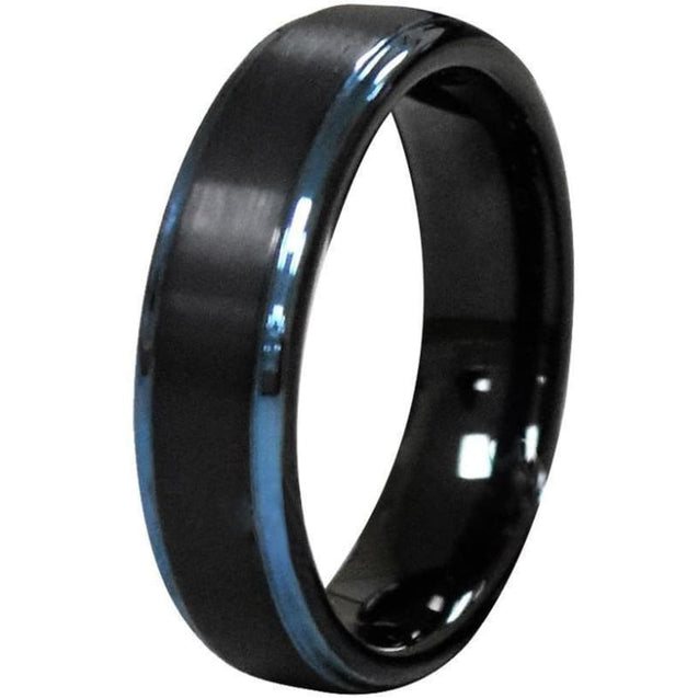 Zachaios Brushed Black Tungsten Carbide Ring With Blue Stepped Edges - 6mm & 8mm