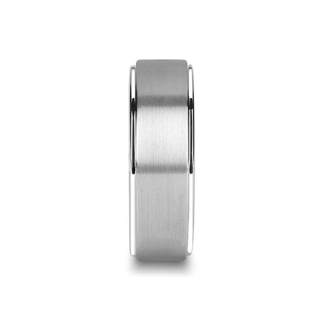 ZAHAR Brushed Raised Center Titanium Ring with Polished Step Edges 6mm & 8mm