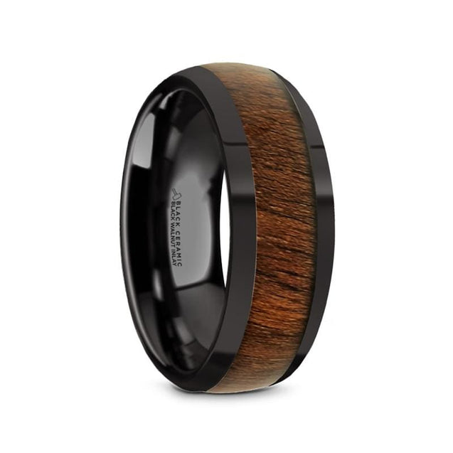 Zander Polished Finish Black Ceramic Mens Wedding Band Black Walnut Inlay - 8Mm - Ceramic Rings
