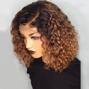 Ombre Color Short Curly Lace Front Human Hair Wig