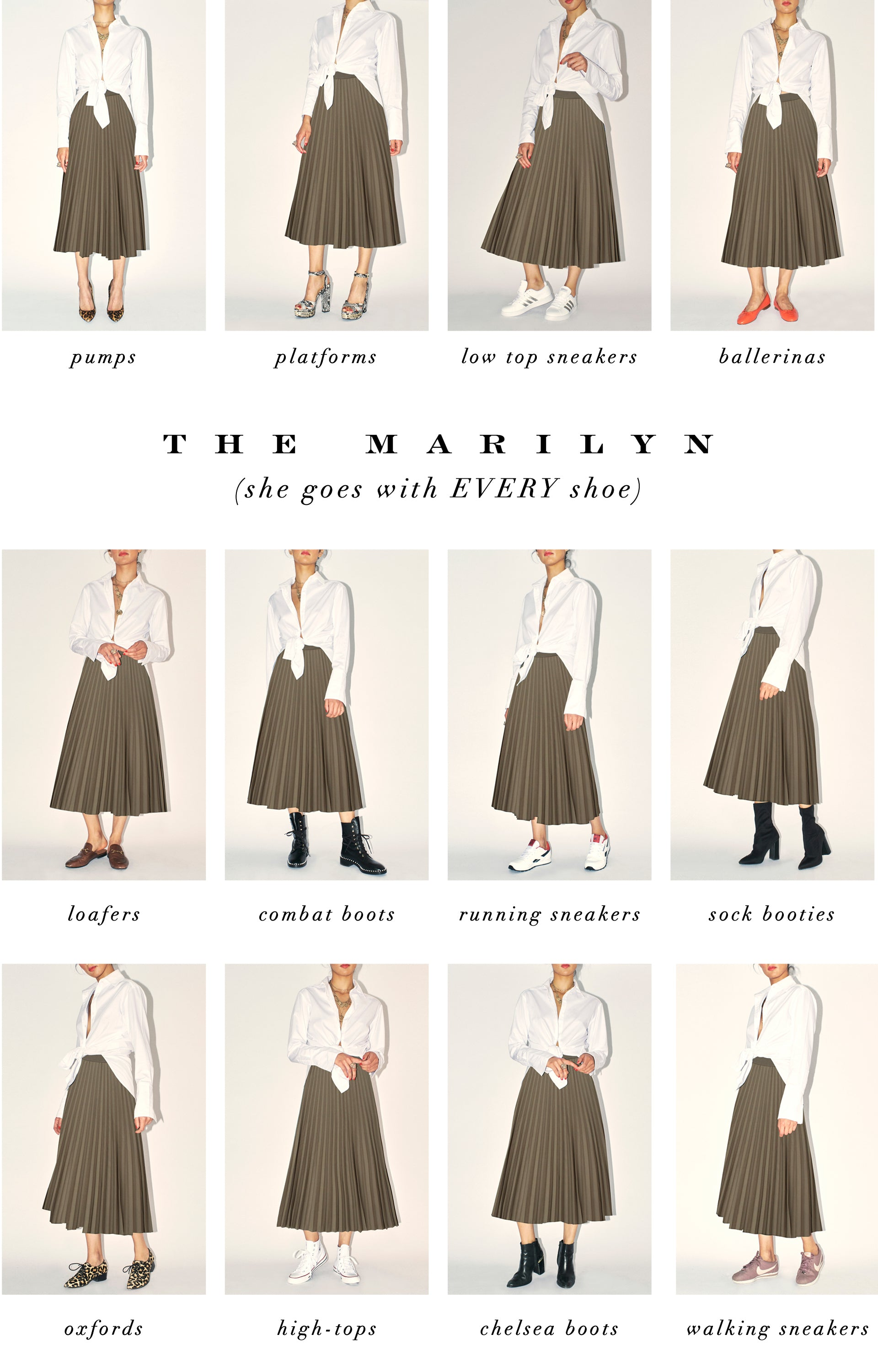 The Marilyn skirt goes with every shoe
