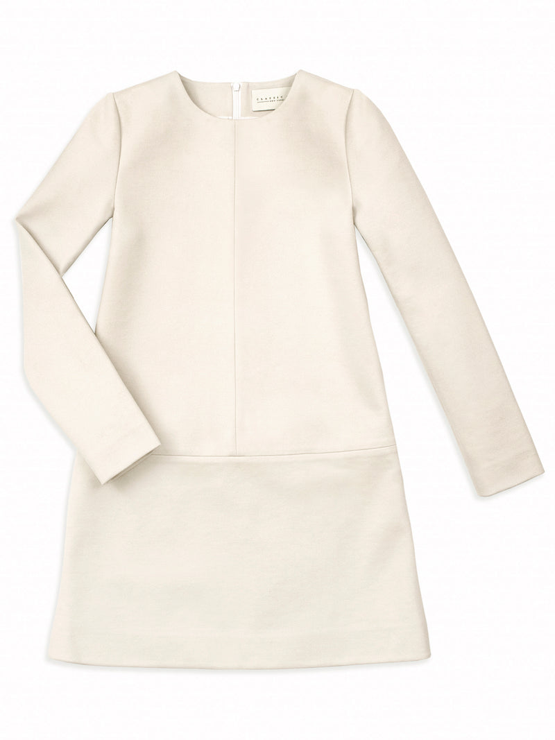 "The perfect shift dress. Classic Six Twiggy shift dress. Season-less, long sleeve, crew-neck, mini shift dress in ivory Ponte de Roma knit. Unlined with bias-taped seams and 22"" invisible back zipper for effortless dressing."