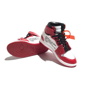Miniature AJ AJ1 Chicago OFF-WHITE + Black Laces 3D Sneaker Keychain with Box/Bag - 1 Pair