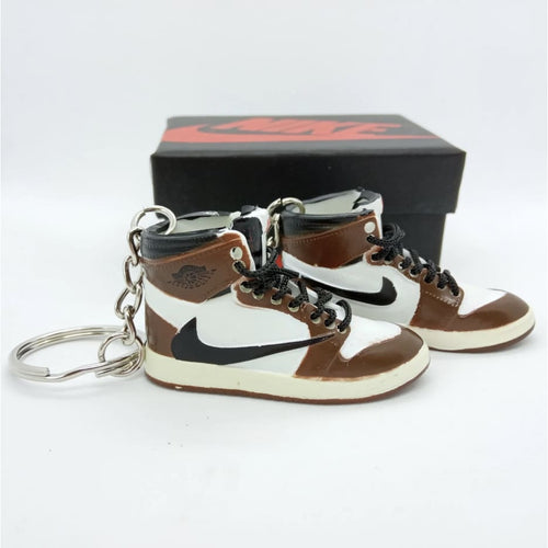 Miniature AJ AJ1 Travis Scott + Black Laces 3D Sneaker Keychain with Box/Bag - 1 Pair