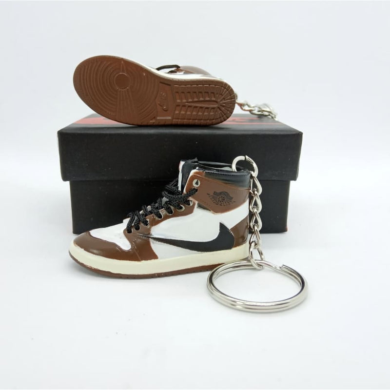 Miniature AJ AJ1 Travis Scott + Black Laces 3D Sneaker Keychain with Box/Bag