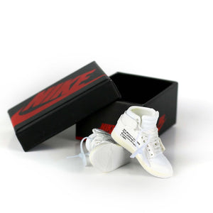 Miniature AJ AJ1 OFF-WHITE NRG + White Laces 3D Sneaker Keychain with Box/Bag - 1 Pair