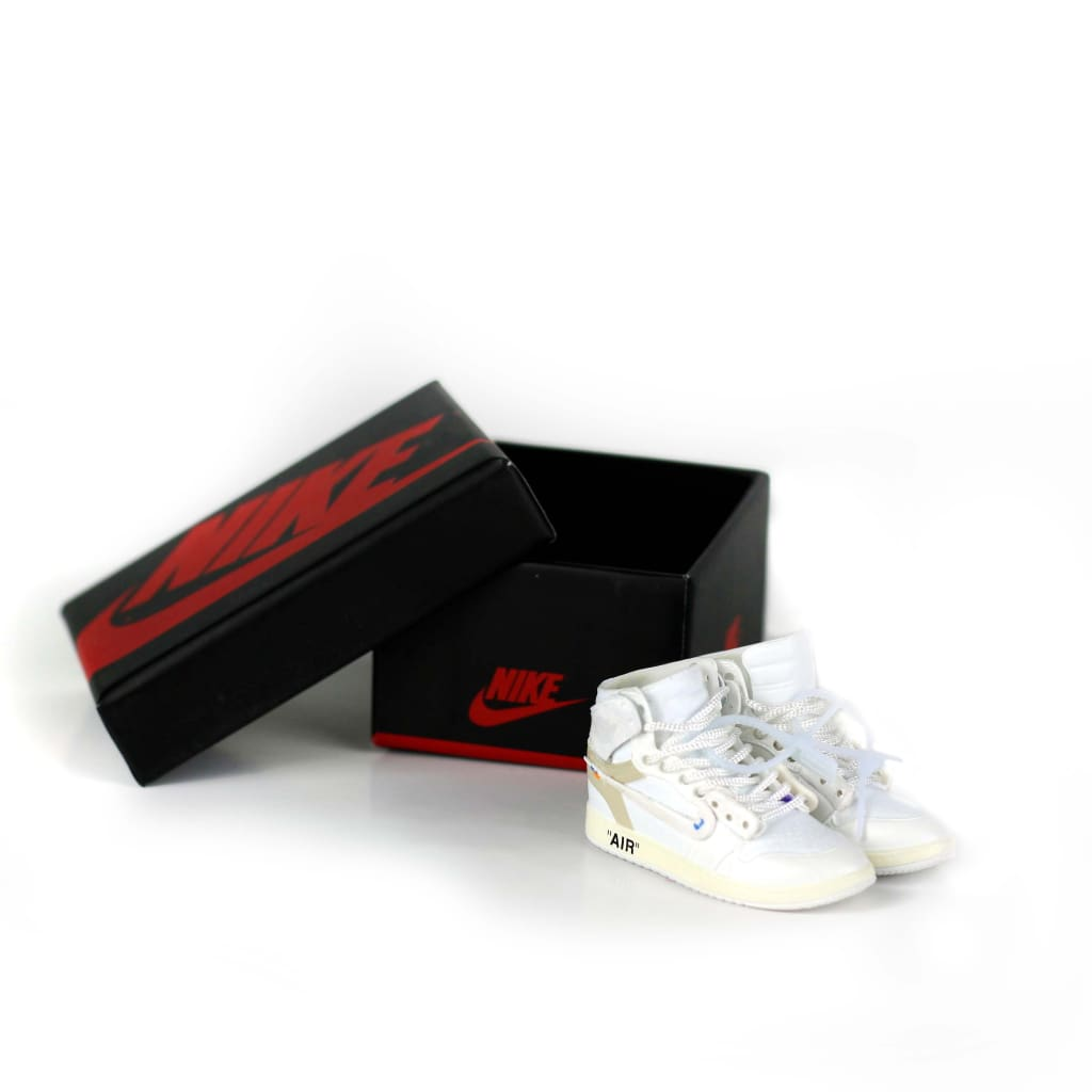 Miniature AJ AJ1 OFF-WHITE NRG + White Laces 3D Sneaker Keychain with Box/Bag