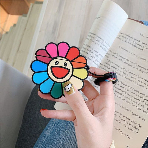 Murakami Style Colorful Sunflower Silicon Airpods Case With Ring