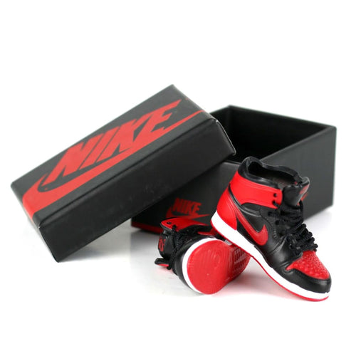 Miniature AJ AJ1 BRED OFF-WHITE + Black Laces 3D Sneaker Keychain with Box/Bag - 1 Pair