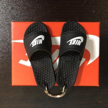 Load image into Gallery viewer, 3D Miniature NK Slippers/Sandal Keychain - Swoosh + Text - Key Chains
