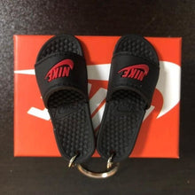 Load image into Gallery viewer, 3D Miniature NK Slippers/Sandal Keychain - Swoosh + Text (Red) - Key Chains