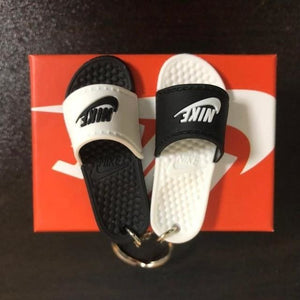 3D Miniature NK Slippers/Sandal Keychain - Black & White - Key Chains