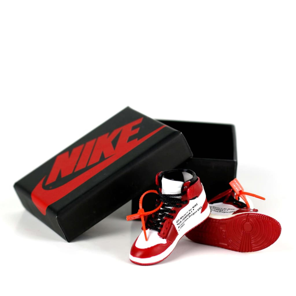 Miniature AJ AJ1 Chicago OFF-WHITE + Black Laces 3D Sneaker Keychain with Box/Bag