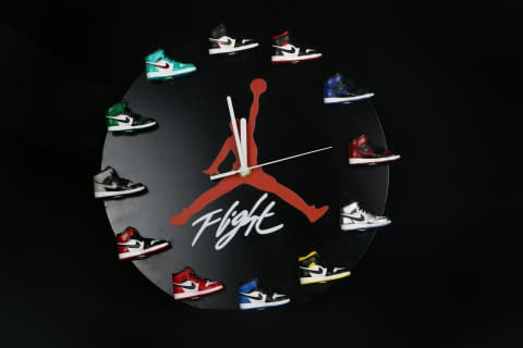 AJ 3D Sneaker Clock with All AJ1 Retros Mini Sneakers