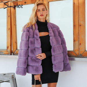 96bbe00449c Simplee 2018 plus size women fluffy faux fur coat Elegant thick warm  outwear jacket coat Autumn