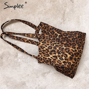 Simplee Cotton leopard print girls  shoulder bags 2018 Large capacity  accessories totes women Casual shopping 52e450e5e6466