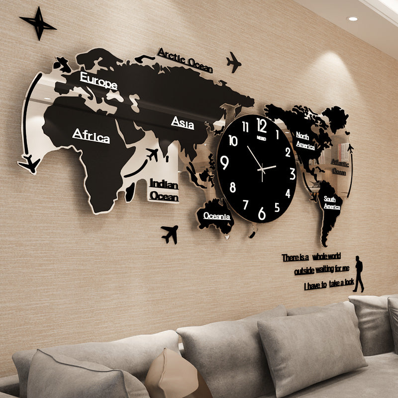 Creative mute world map shape personality wall clock shoponlineclick creative mute world map shape personality wall clock gumiabroncs Choice Image